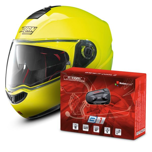 Casque Modulable Nolan N104 Absolute N-Com Fluo Yellow 22 + Kit Bluetooth B1