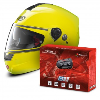 Casque Modulable Nolan N91 Evo Hi-Visibility N-Com Fluo Yellow 22 + Kit Bluetooth B1