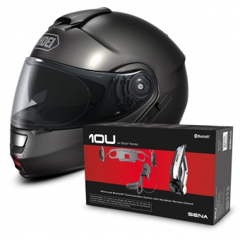 Casque Modulable Shoei Neotec Anthracite + Kit Bluetooth Sena 10U