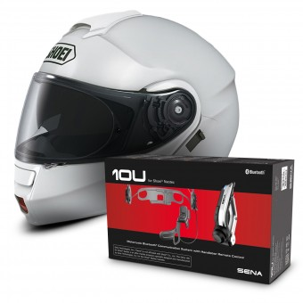Casque Modulable Shoei Neotec Blanc + Kit Bluetooth Sena 10U