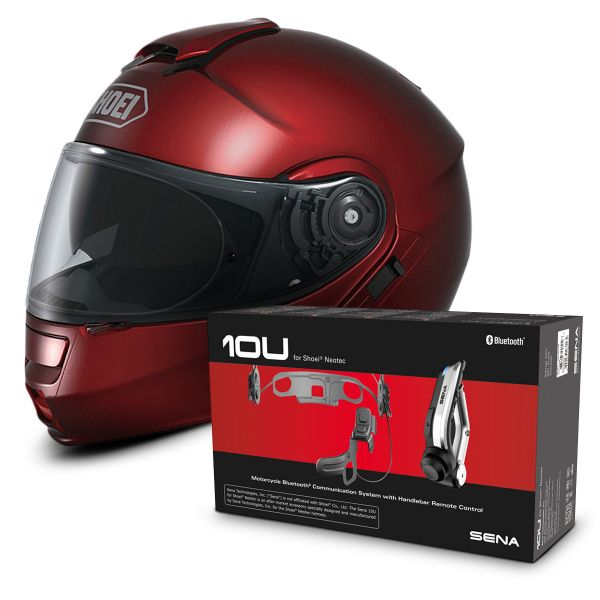 Casque Modulable Shoei Neotec Bordeaux + Kit Bluetooth Sena 10U
