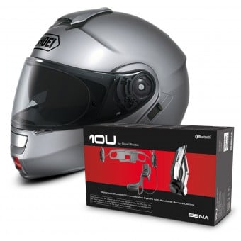 Casque Modulable Shoei Neotec Gris + Kit Bluetooth Sena 10U
