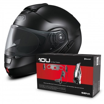 Casque Modulable Shoei Neotec Noir + Kit Bluetooth Sena 10U