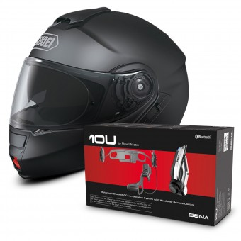 Casque Modulable Shoei Neotec Noir Mat + Kit Bluetooth Sena 10U