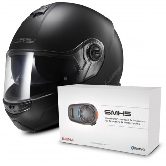Casque Modulable LS2 Strobe Matt Black FF325 + Kit Bluetooth Sena SMH5