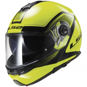 Casque Modulable LS2 Strobe Civik Hi-Vis Yellow Black FF325