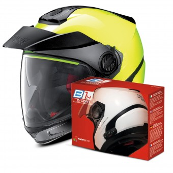Casque Transformable Nolan N40 5 GT Hi-Visibility N-Com Fluo Yellow + Kit Bluetooth B1.4