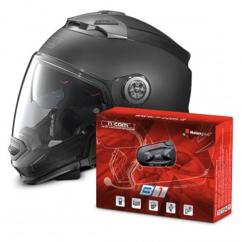 Casque Transformable Nolan N44 Evo Classic N-Com Flat Black 10 + Kit Bluetooth B1