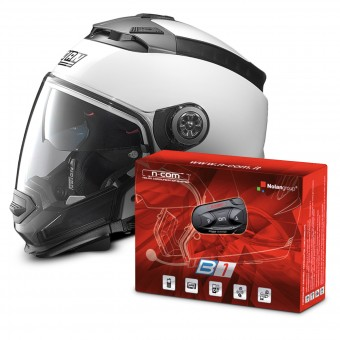 Casque Transformable Nolan N44 Evo Classic N-Com White 5 + Kit Bluetooth B1