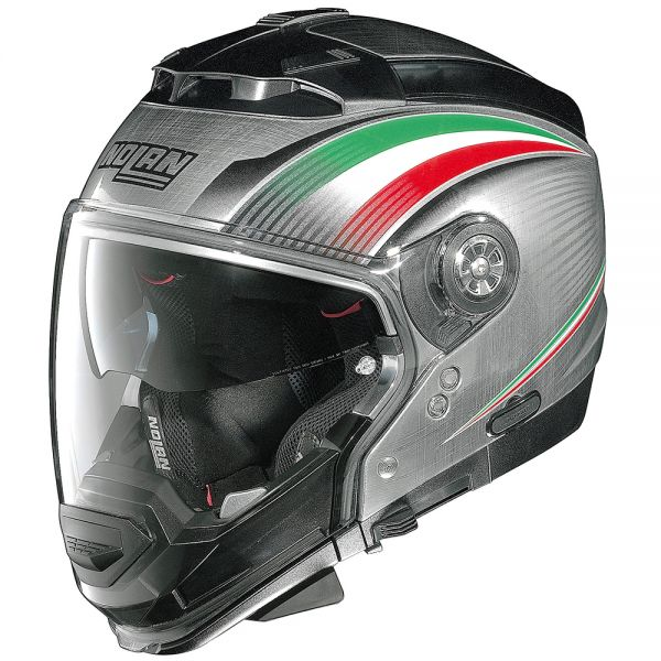 Casque Transformable Nolan N44 Evo Italy N-Com Scratched Chrome 15