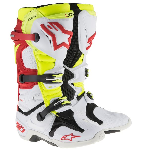 Bottes Cross Alpinestars Tech 10 White Red Yellow Fluo