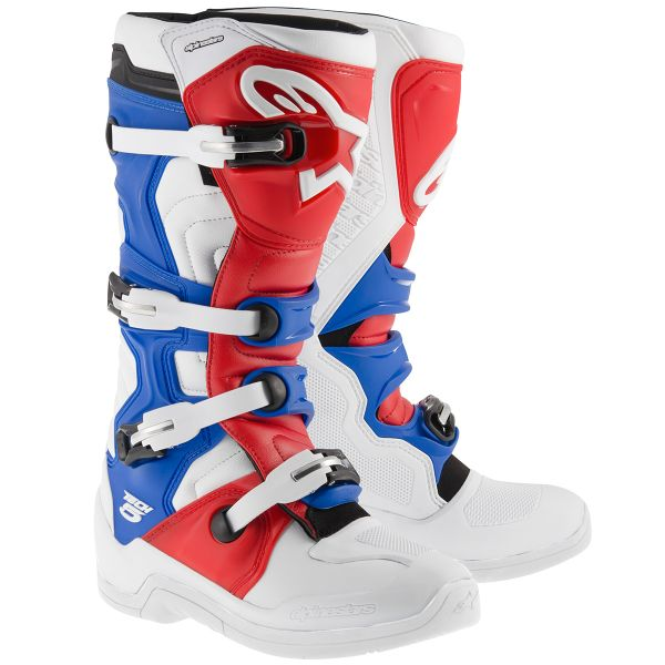 Bottes Cross Alpinestars Tech 5 White Red Blue