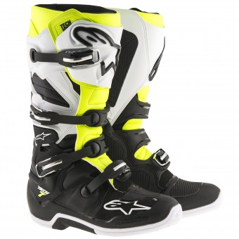 Bottes Cross Alpinestars TECH 7 Black White Yellow Fluo