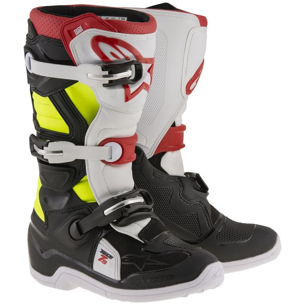 Bottes Cross Alpinestars TECH 7 S Black Red Yellow Fluo Enfant