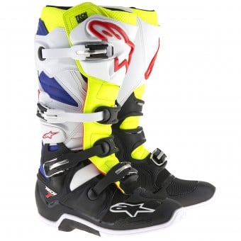 Bottes Cross Alpinestars TECH 7 White Yellow Fluo Blue