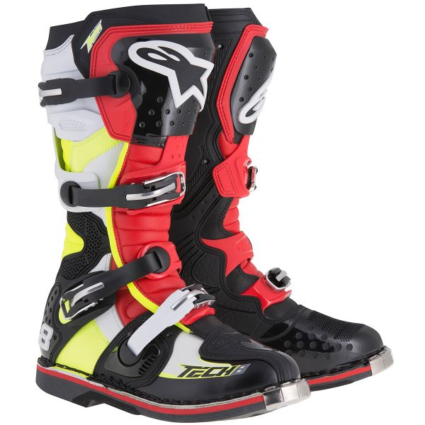 Bottes Cross Alpinestars Tech 8 RS Black Red Yellow Fluo