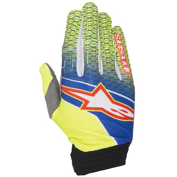 Gants Cross Alpinestars Aviator Blue Yellow Fluo Red