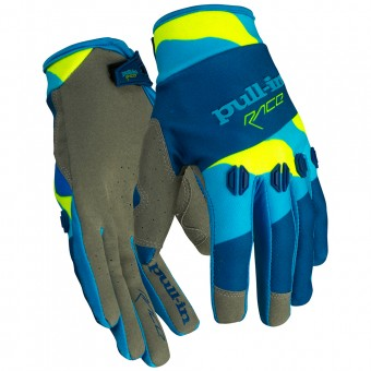 Gants Cross pull-in Fighter Camo Blue Neon