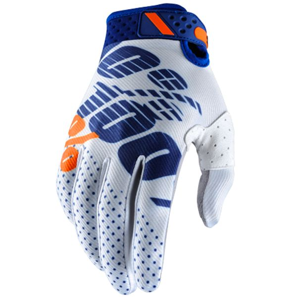 Gants Cross 100% Ridefit White Navy