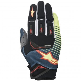Gants Cross Alpinestars Techstar Petrol Yellow Fluo Red