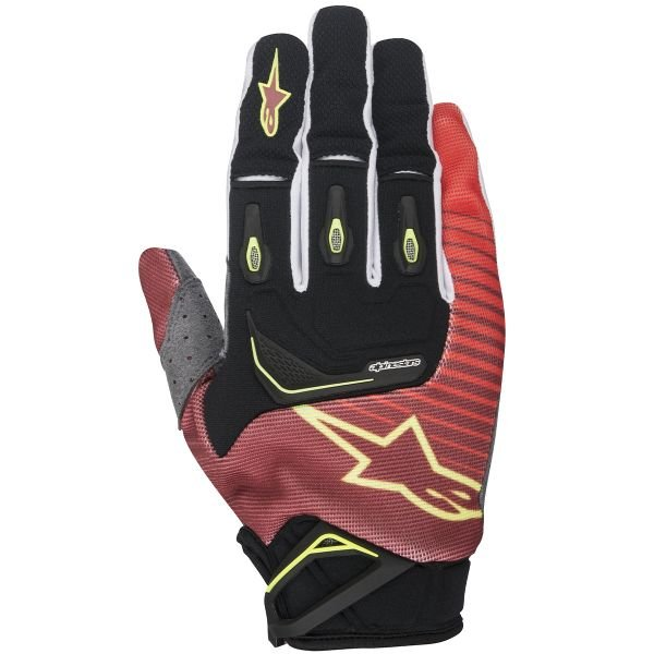 Gants Cross Alpinestars Techstar Red Yellow Fluo