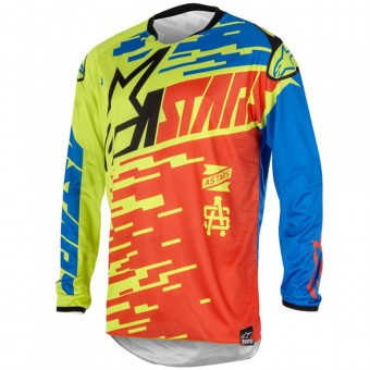 Maillot Cross Alpinestars Racer Braap Red Blue Lime Green