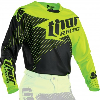 Maillot Cross Thor Core Hux Black Flo Green