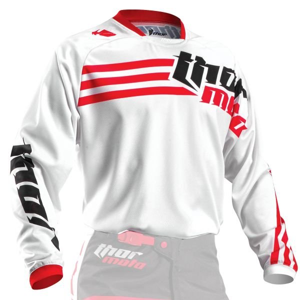 Maillot Cross Thor Phase Strands White Red