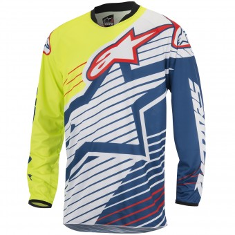 Maillot Cross Alpinestars Racer Braap Yellow Fluo Blue