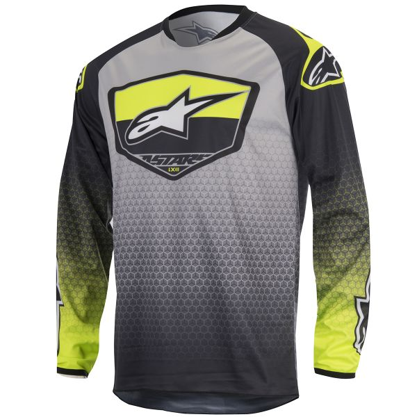Maillot Cross Alpinestars Racer Supermatic Anthracite Yellow Fluo
