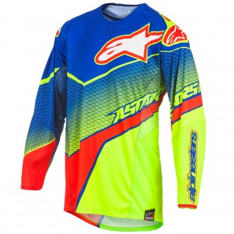 Maillot Cross Alpinestars Techstar Venom Blue Yellow Fluo Red