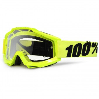 Masque Cross 100% Accuri Fluo Yellow Clear Lens Enfant