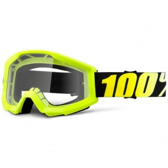 Masque Cross 100% Strata Neon Yellow Clear Lens Enfant
