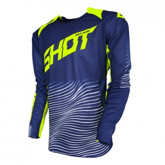 Maillot Cross SHOT Aerolite Optica Blue Neon Yellow
