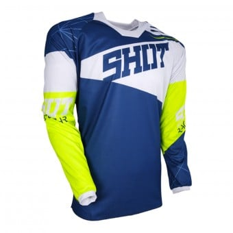 Maillot Cross SHOT Contact Infinite Blue White Neon Yellow