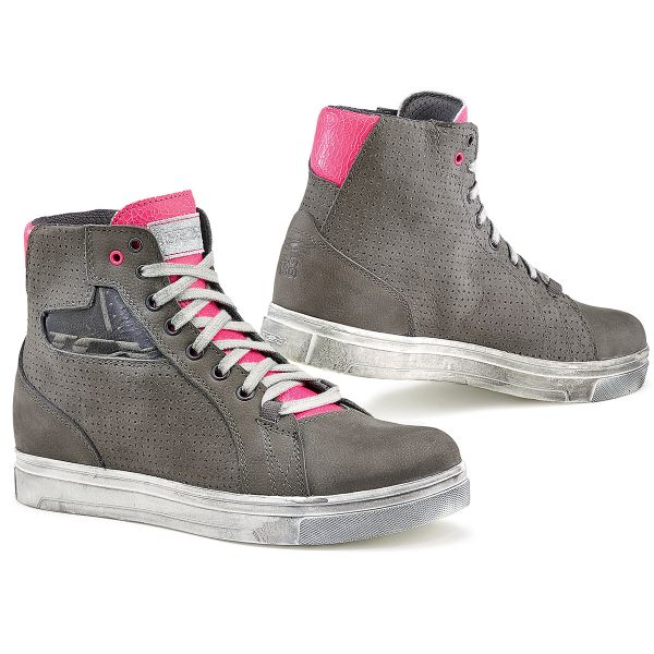Baskets Moto TCX Street Ace Lady Air Grey Fuschia