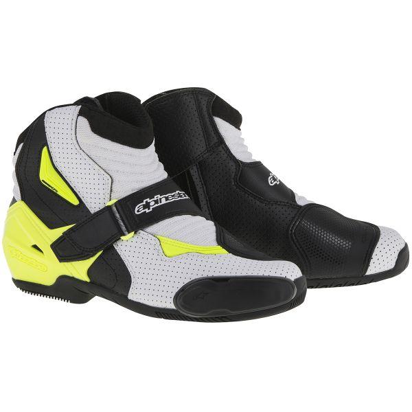 demi bottes moto alpinestars smx 1 r vented black white yellow fluo au meilleur prix. Black Bedroom Furniture Sets. Home Design Ideas