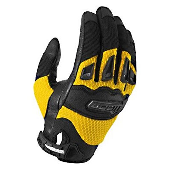 gant moto racing jaune