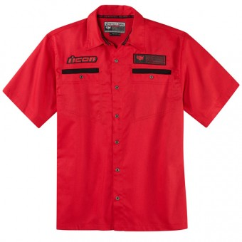 Chemises Moto ICON Outlaw Workshirt Red