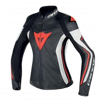 Blouson Moto Dainese Assen Lady Black White Red Fluo