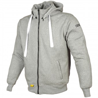 Blouson Moto Booster Hoodie Kevlar Core Light Grey