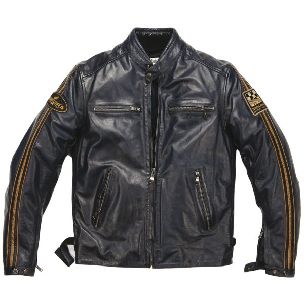 Blouson Moto Helstons Ace Leather Rag Blue