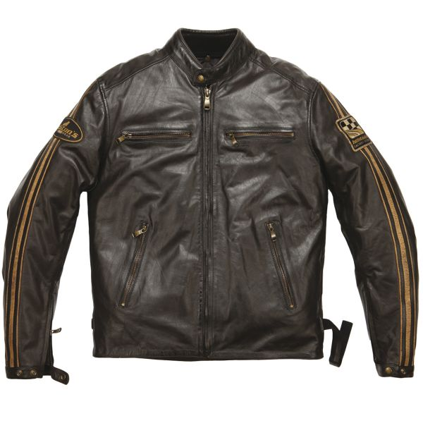 Blouson Moto Helstons Ace Leather Rag Brown