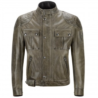 Blouson Moto Belstaff Brooklands Leather Combat Green