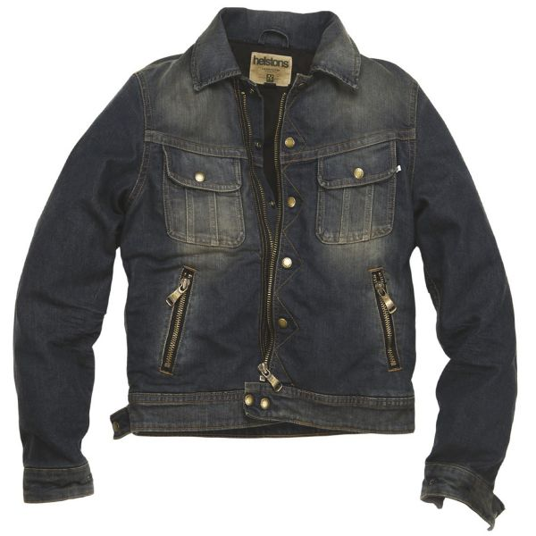 Blouson Moto Helstons Cannonball Cotton Denim Dirty