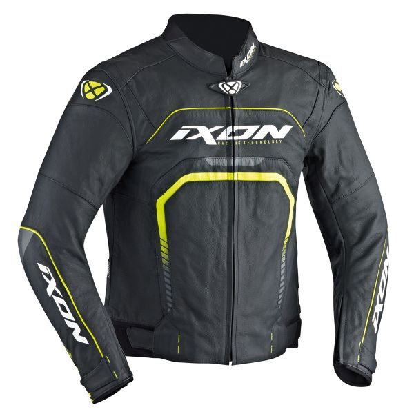 Blouson Moto Ixon Fighter Black White Yellow