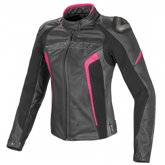 Blouson Moto Dainese Racing D1 Lady Black Anthracite Fuchsia Fluo