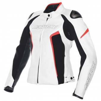 Blouson Moto Dainese Racing D1 Lady White Black Red Fluo