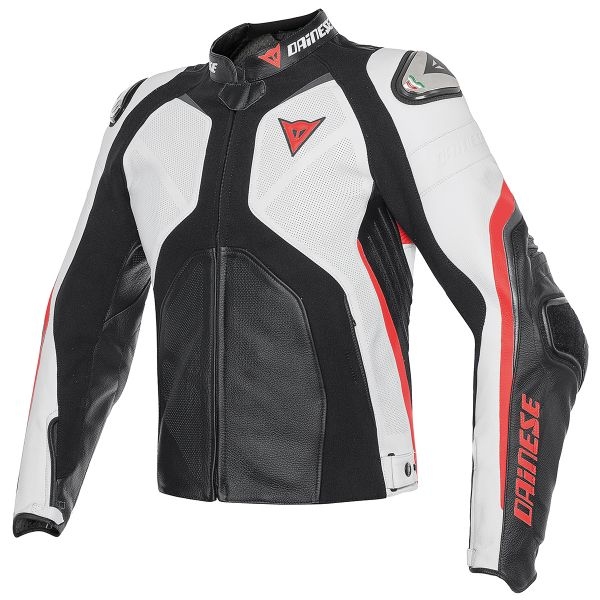Blouson Moto Dainese Super Rider Black White Red Fluo