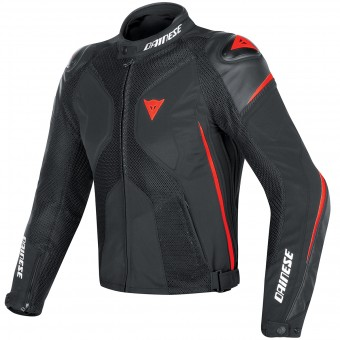 Blouson Moto Dainese Super Rider D-Dry Black Red Fluo